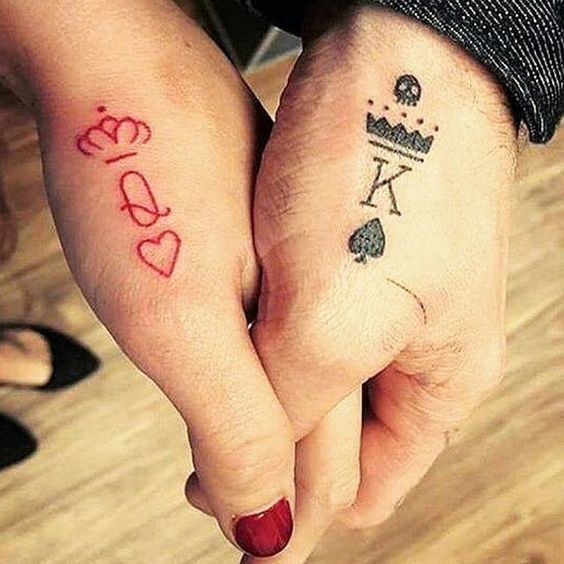 couple tattoo queen king matching tattoos for couples that truly mean forever photos. Black Bedroom Furniture Sets. Home Design Ideas