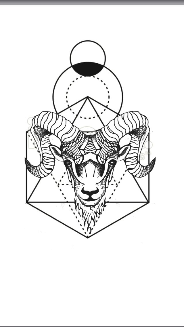 Geometric Tattoo - Geometric animal tattoo Aries ram - geometric ...
