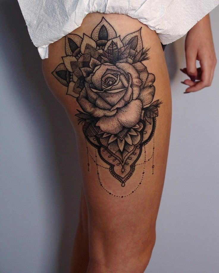 Rose-tattoo-large-thigh-design The Most