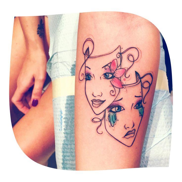 9fdf343da492e Watercolor tattoo - My newest addition! Watercolor theatre masks ...