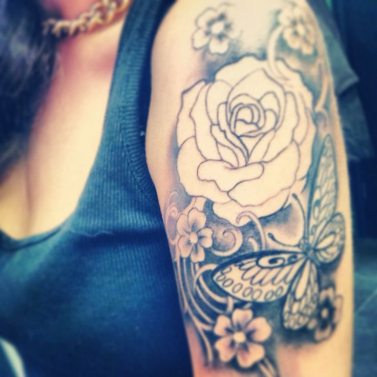 women tattoo half sleeve in process not finished yet roses butterfly 39 s pretty girly slee. Black Bedroom Furniture Sets. Home Design Ideas