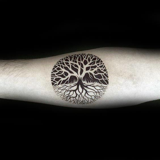 Tattoo Trends Negative Space Guys Small Circle Tree Of Life Tattoo