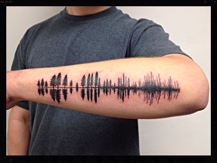 Tree Tattoo - Black Pine tree silhouettes turning into soundwave ...