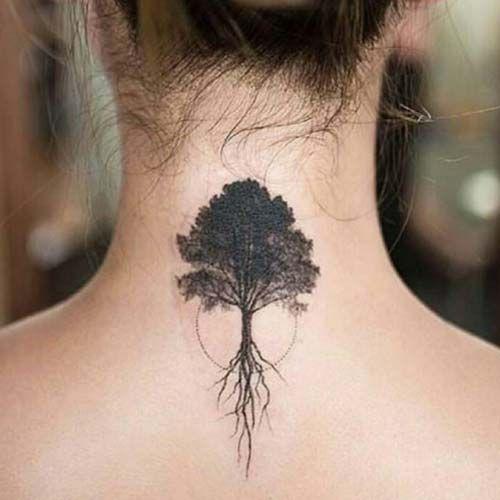 Tree tattoo kad n s rt a a d vmesi woman upper back for Tree back tattoo