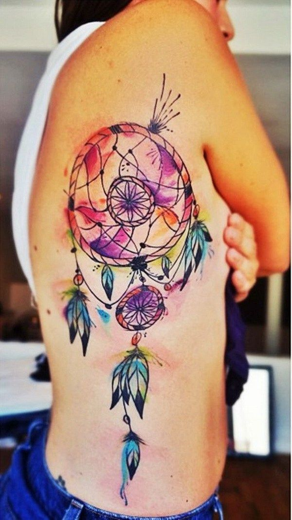 watercolor tattoo colorful watercolor dream catcher tattoo on the side back tattooviral. Black Bedroom Furniture Sets. Home Design Ideas