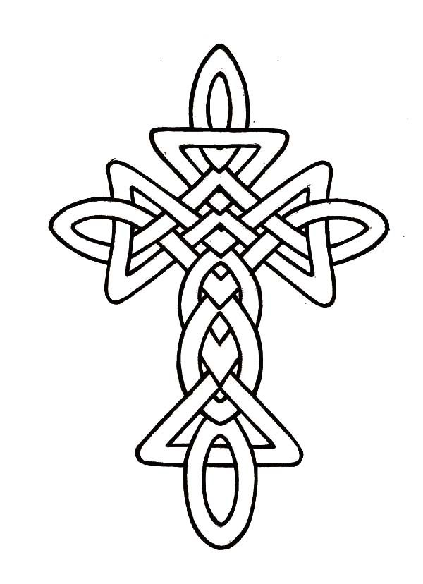 Watercolor Tattoo Morphed Celtic Cross Coloring Pages
