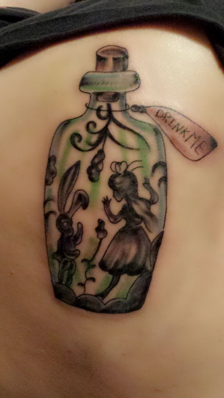 Women tattoo alice in wonderland tattoo pretty girly for Small alice in wonderland tattoos