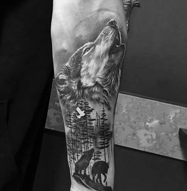 Tattoo Trends - Shaded Howling Wolf Male Inner Forearm Tattoo ...