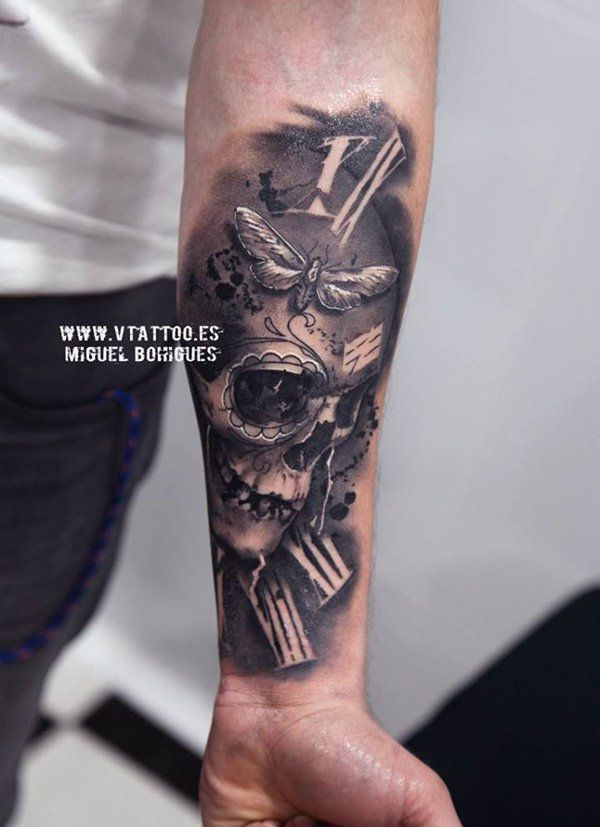 tattoo trends skull with watch tattoo 100 awesome skull tattoo designs tattooviral. Black Bedroom Furniture Sets. Home Design Ideas
