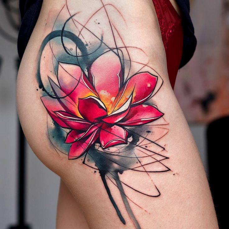 Watercolor tattoo abstract lotus flower tattooviral for Abstract flower tattoo