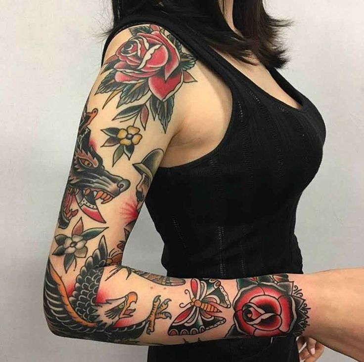 tattoo sleeve full sleeve traditional tattoo your number one source for. Black Bedroom Furniture Sets. Home Design Ideas