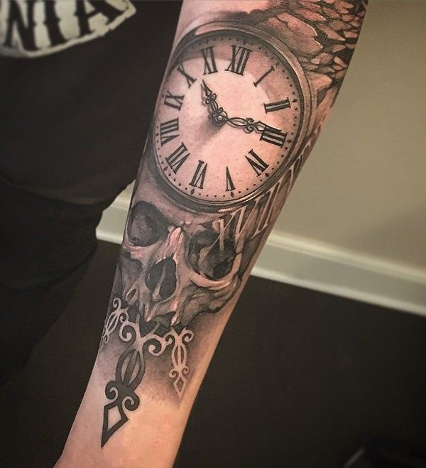 tattoo trends relistic watch and skull forearm tattoo for man 100 awesome watch tattoo desig. Black Bedroom Furniture Sets. Home Design Ideas