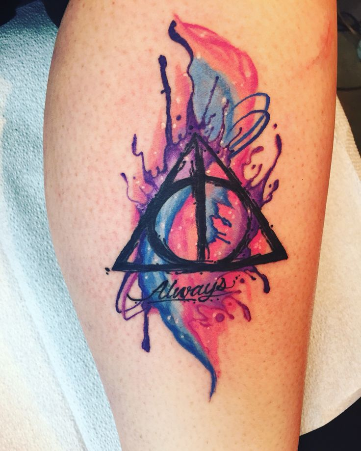 watercolor tattoo my new tattoo harry potter deathly. Black Bedroom Furniture Sets. Home Design Ideas