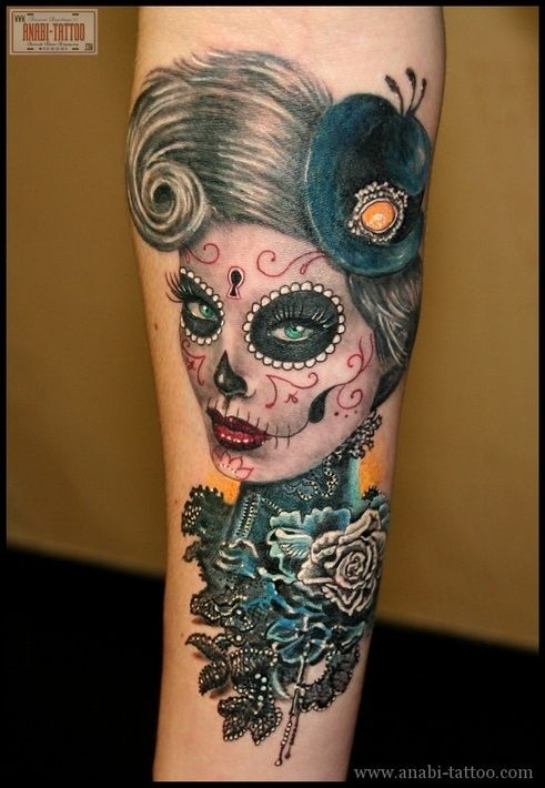 women tattoo 25 sugar skull tattoo designs skull designs art fashion. Black Bedroom Furniture Sets. Home Design Ideas