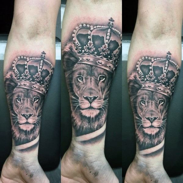 Tattoo Trends - Forearm Sleeve Mens Lion With Crown
