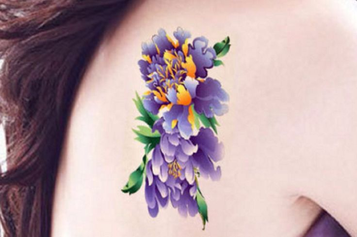 watercolor tattoo floral temporary tattoo flower tattoo tiny small vintage traditional. Black Bedroom Furniture Sets. Home Design Ideas