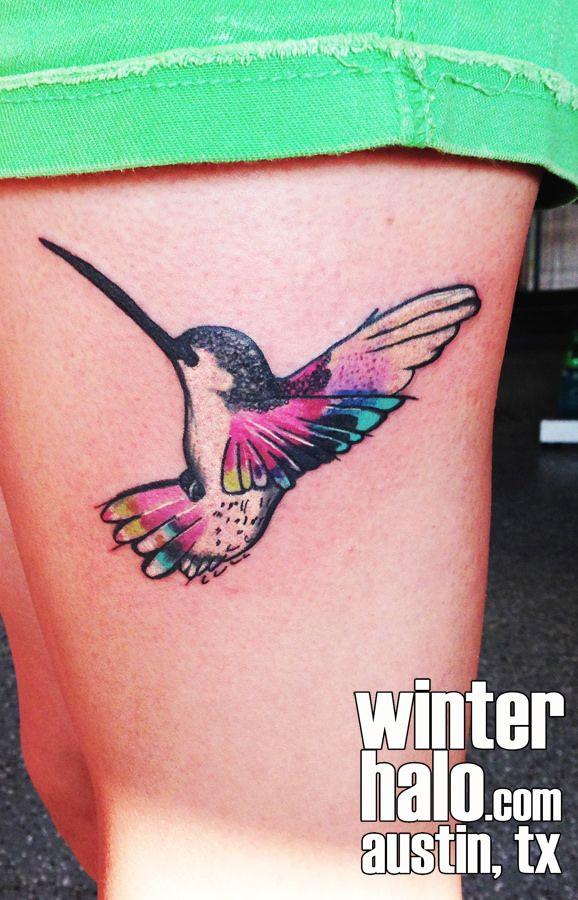 Women tattoo watercolor style hummingbird tattoo by for Tattoo artists austin tx
