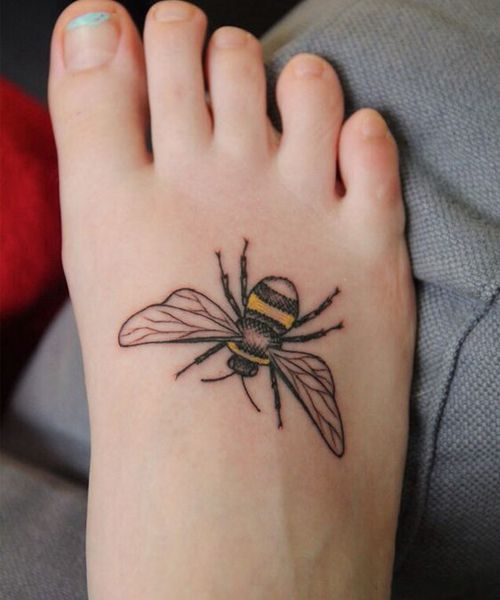 5e3c2b5e09f41 Tattoo Trends - Cute Bumble Bee Tattoo Design on Foot ...
