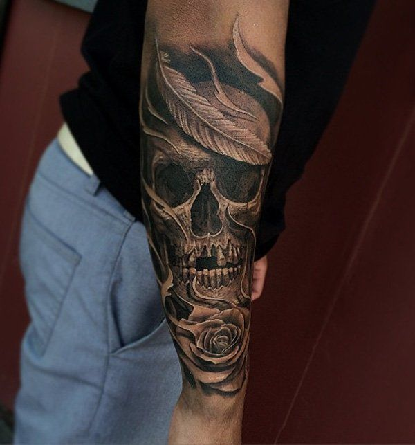 tattoo trends skull tattoo on sleeve for men 100 awesome skull tattoo designs. Black Bedroom Furniture Sets. Home Design Ideas