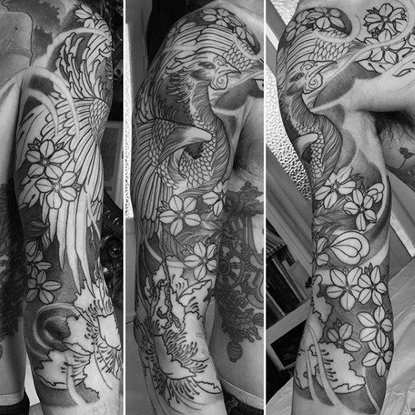 Tattoo Trends Shaded Black And Grey Floral Japanese Phoenix Half