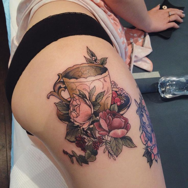 Body tattoo 39 s beautiful floral teacup tattoo by for Beautiful body tattoo
