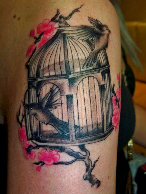 Body Tattoo S Bird Cage Tattoo With Pink Tattooviral