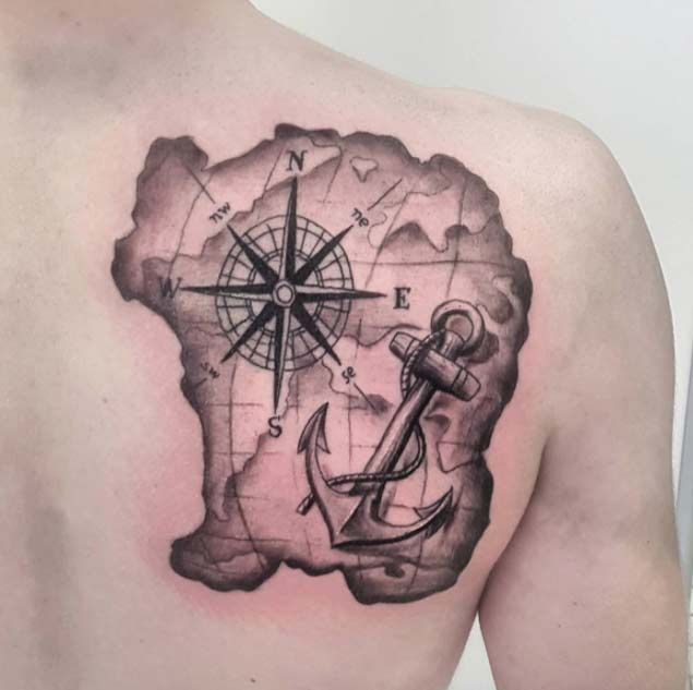 body tattoo 39 s compass and anchor tattoo by craig storry your number one. Black Bedroom Furniture Sets. Home Design Ideas