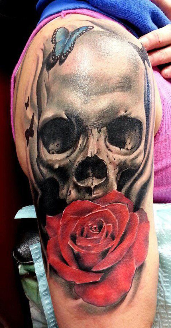 tattoo trends skull and roses sleeve tattoo 100 awesome skull tattoo designs. Black Bedroom Furniture Sets. Home Design Ideas