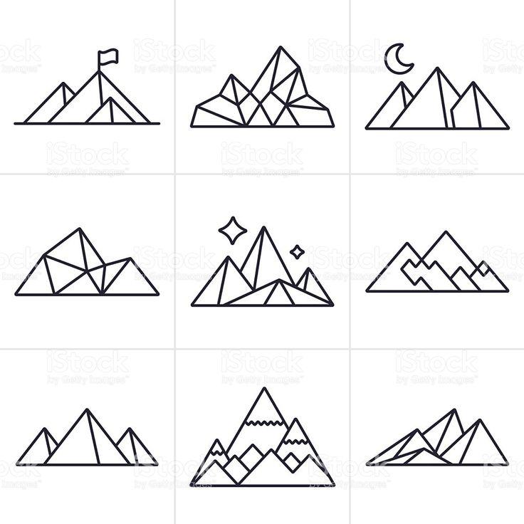 Geometric Tattoo Symboles Et Icones De La Montagne Stock Vecteur