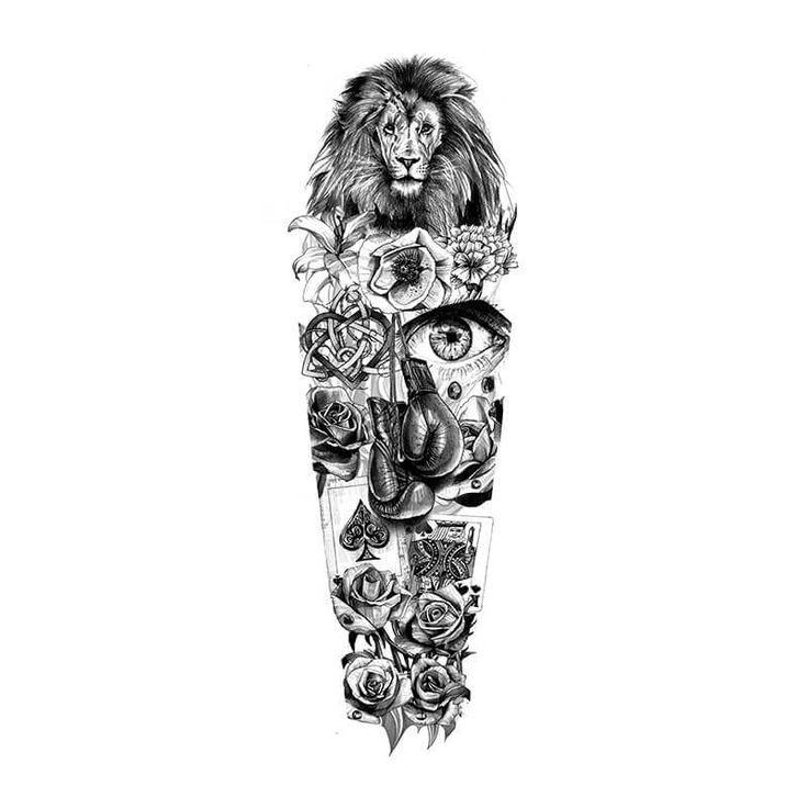Sleeve Template Tattoo: Lion Full Sleeve Design Idea