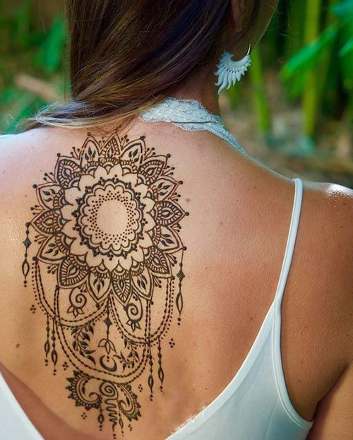 Henna back tattoo designs for women touching words