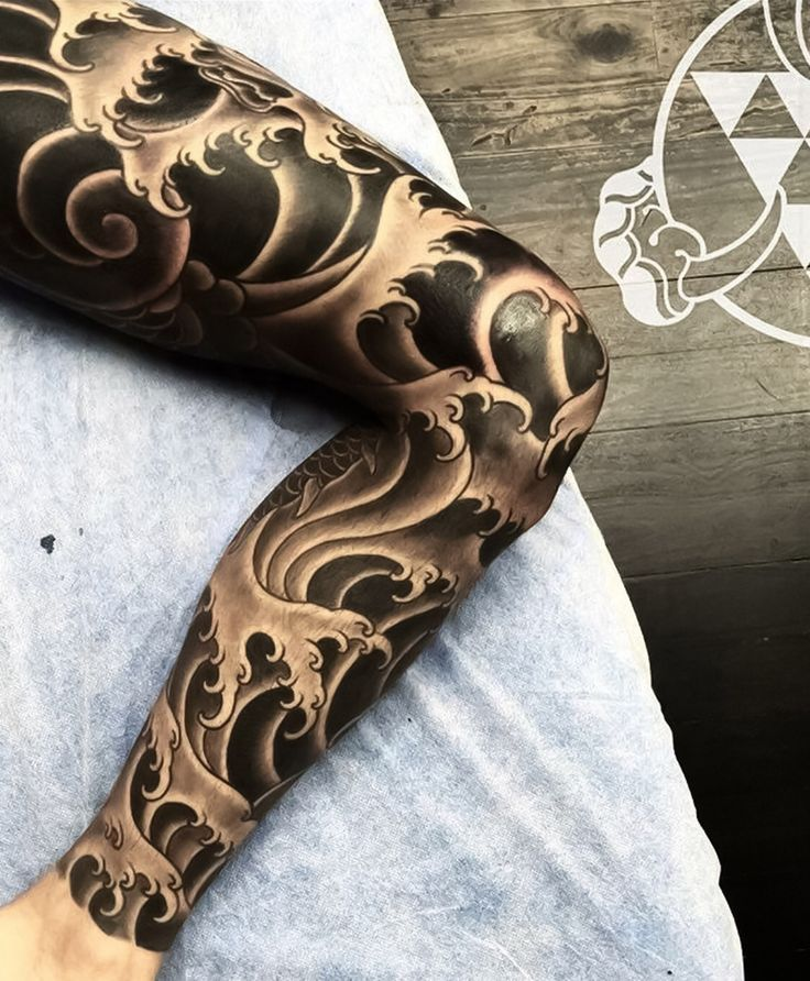 Body Tattoos Japanese Black And Grey Leg Sleeve Tattoos By
