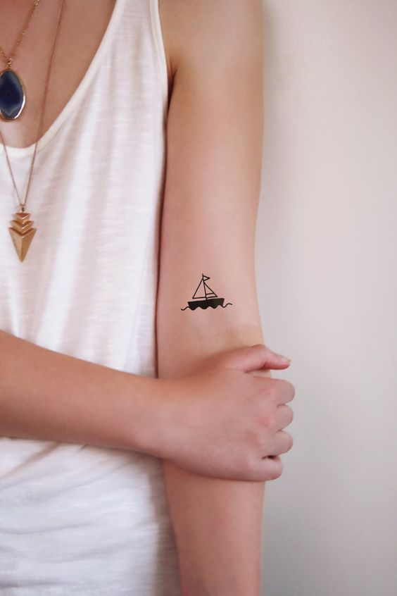Tiny Tattoo Idea - 2 small boat temporary tattoos / ship temporary ...