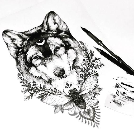 fc2767cf888f3 Tattoo Trends - Awesome Wolf Head With Moon and Flowers Tattoo ...